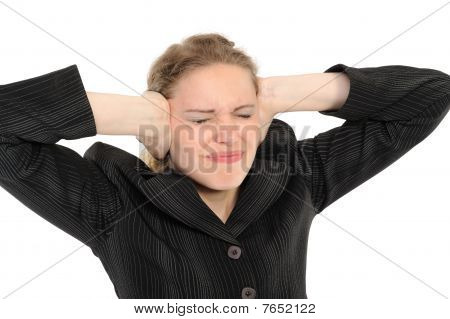 Woman With His Hands Covering His Ears