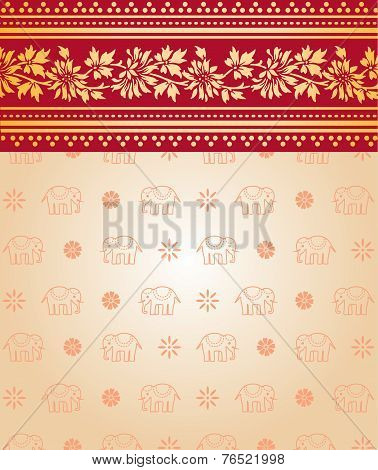 Asian pink and cream floral and elephant saree background
