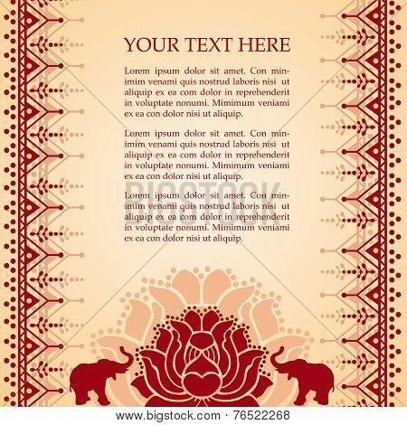 Oriental lotus and elephant henna background