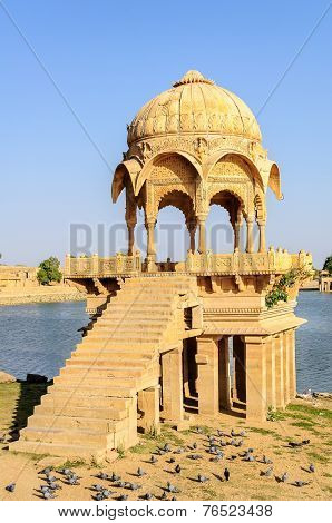 Ancient Hindu Stone Temple Beside Lake