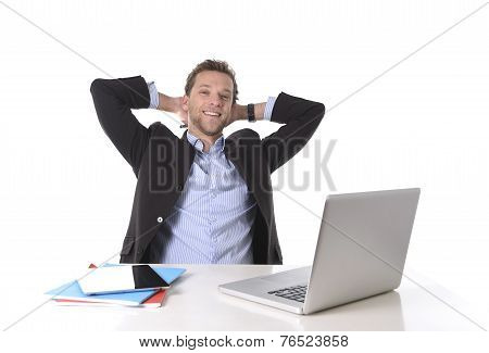 Attractive Businessman Happy At Work Smiling Relaxed At Computer Desk