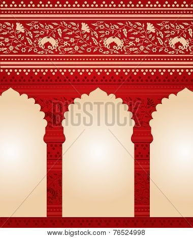 Red and cream Asian floral temple design