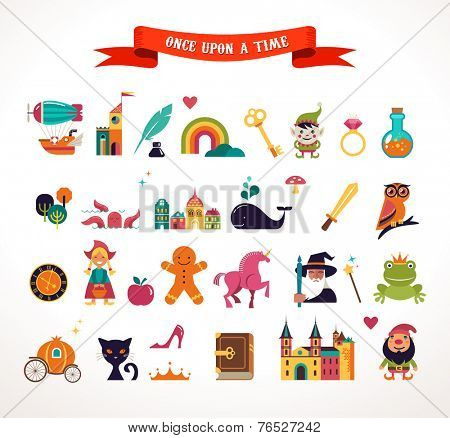 Collection of vector fairy tale elements, icons and illustrations