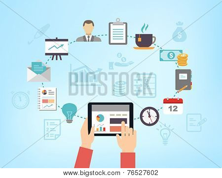 Business background - can be used to illustrate time management, task organization or planning a meeting or teambuilding.