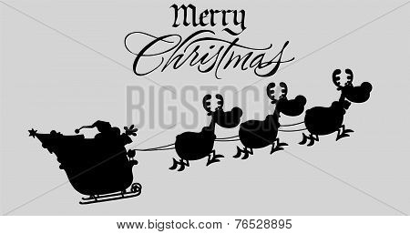 Merry Christmas Greeting With Santa Claus In Flight With His Reindeer