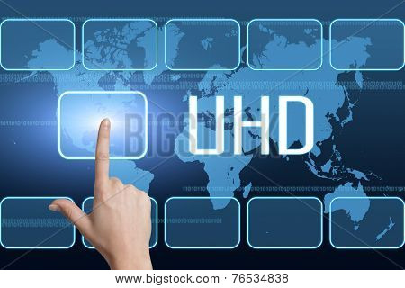 UHD - User Help Desk concept with interface and world map on blue background poster