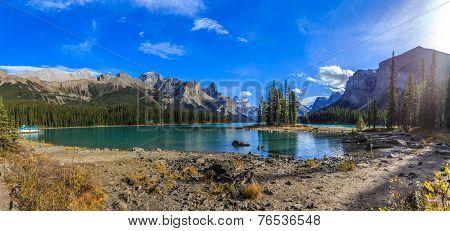 Spirit Island in Maligne Lake, Jasper National Park, Alberta, Canada poster
