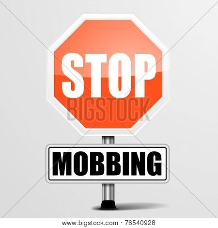 detailed illustration of a red stop Mobbing sign, eps10 vector