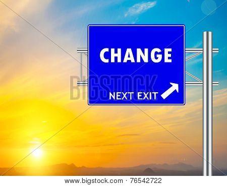 Change Blue Road Sign