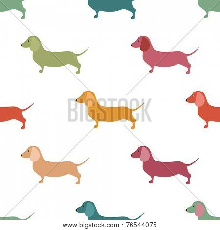 Seamless pattern with cute dachshound dogs. Vector illustration. Small puppies background. Textile, web or wrap paper design