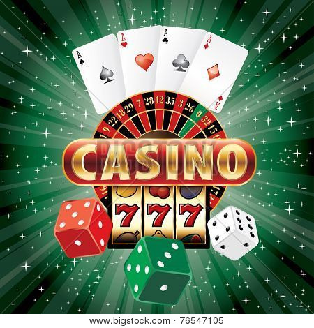 vector gambling casino elements on green star-burst
