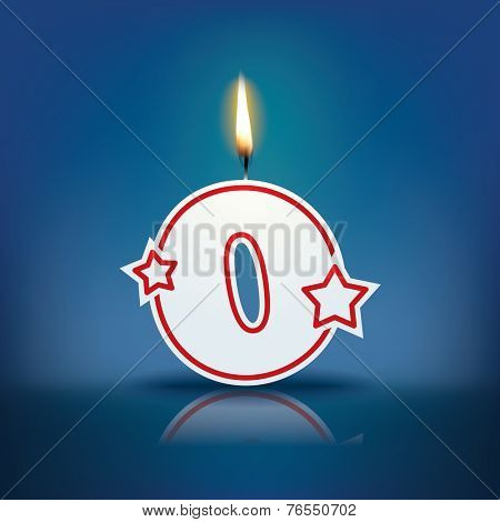 Candle number 0 with flame - eps 10 vector illustration