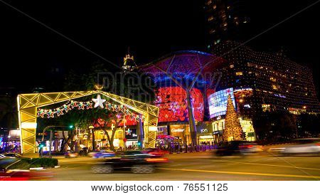 SINGAPORE - NOV 19: Night view of Christmas Decoration at Singapore Orchard Road on November 19, 2014 in Singapore. The street and shopping centres decorated with shiny stars and christmas decorations