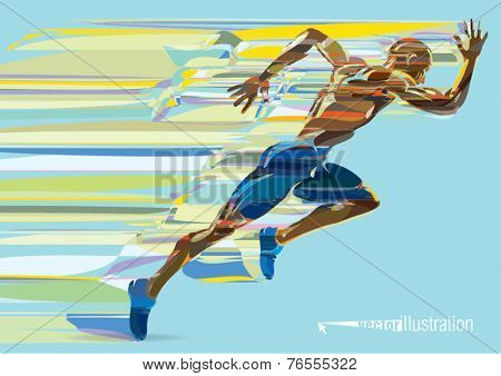 Artistic stylized running man in motion