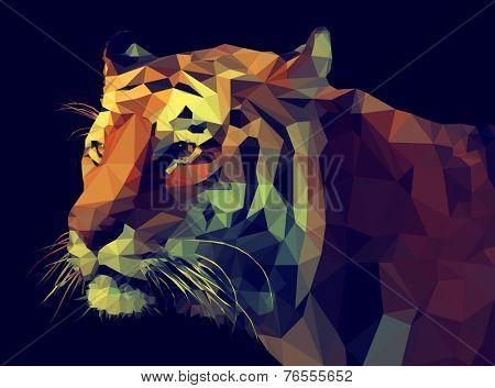 Low poly design. Tiger illustration.
