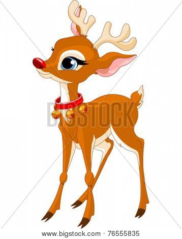 Illustration of cute Christmas reindeer Rudolf