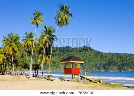 cabine op strand in Tobago in Republica Trinidad en Tobago