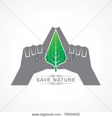 Save nature concept with leaf stock vector