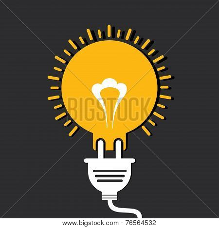 Innovation idea concept with bulb and plug stock vector