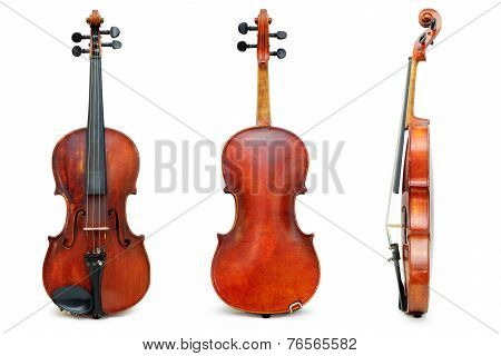 Old used violin view for passport
