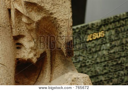 Sculpure of Jesus at the Sagrada Familia, Barcelona