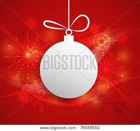 Paper Christmas Ball With Space For Text-christmas Greeting Card