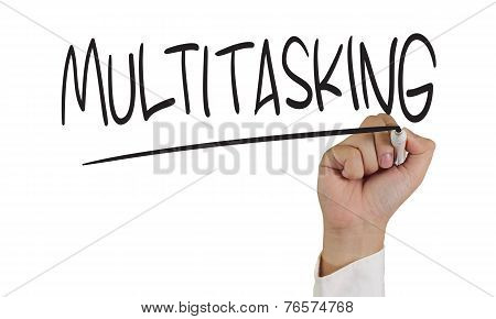 Image of a hand holding marker and write multitasking word isolated on white poster