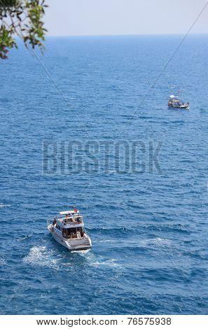 two ships in mediterrian sea near shore of Anatolya, Turkey poster