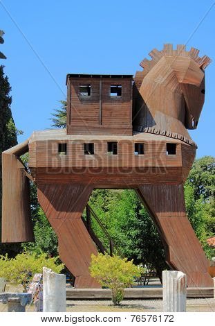 wooden Trojan horse on the entrance to archaeological site, Turkey poster
