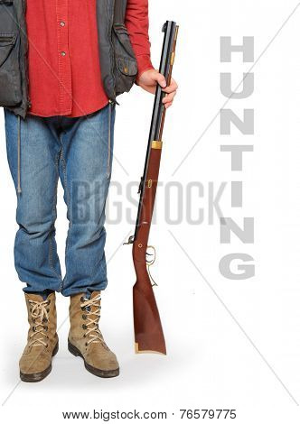 Hunter with rifle and space for your text.