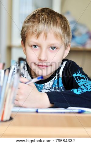 Homework Of Left-handed Boy