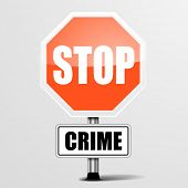 detailed illustration of a red stop crime sign, eps10 vector poster