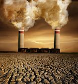 Global pollution caused by industry and resulting destruction poster