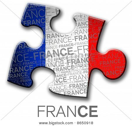 The flag of france inside a puzzle