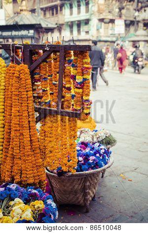 The Street Vendor Sels His Fruits And Vegetables In Thamel In Kathmandu, Nepal.