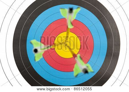 Archery Target With Arrows In Short Dept Of Field