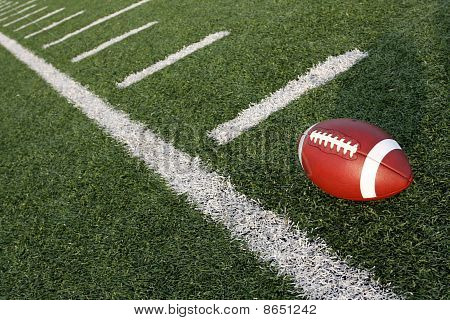 Football Amongst The Hashmarks Or Yard Lines