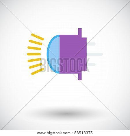 Xenon car lamp flat icon