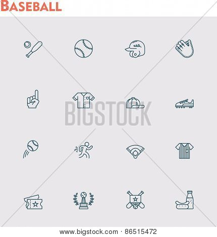 Set of the baseball related icons