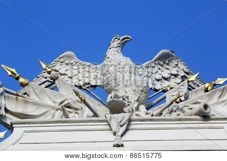 VIENNA, AUSTRIA - OCTOBER 10,2014: Architectural artistic decorations on Hofburg palace, Vienna; Austria. Hofburg was residence of Habsburg dynasty, rulers of Austro-Hungarian Empire. Vienna, Austria