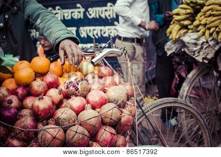 The Hawker Sell His Fruits In Thamel In Katmandu, Nepal.