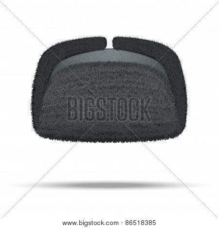 Russian black winter fur hat ushanka.