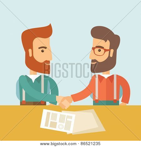 Two successful hipster Caucasian businessmen with beard handshaking. Hipster businessmen on a meeting signing the agreement with papers on the table. Partnership, leadership concept. A contemporary