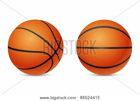 Basketball, front and half-turn view, isolated on white background.