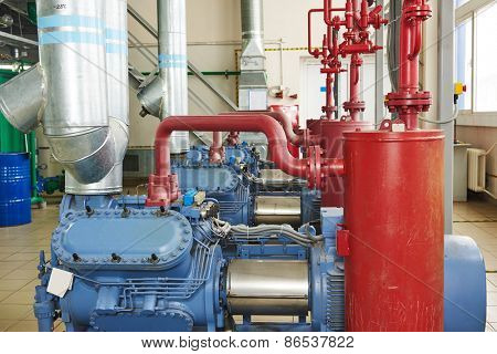 engineering equipment. industrial compressor refrigeration station at manufacturing factory