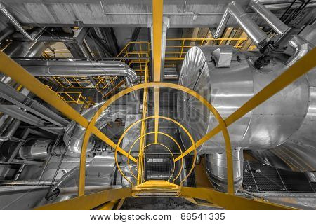 Large yellow ladder in industrial interior Photo poster