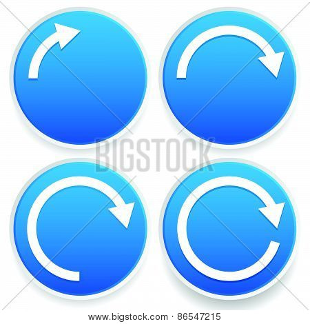 Circular Arrows, 1/4, 1/2, 3/4 And Full Circles - Blue Arrow Signs.