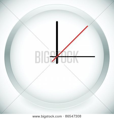 Clock Vector Template With 3 Hour Hands