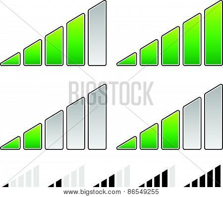 Eps 10 Vector Illustration of Signal Strength Indicator Symbol Set - Progress Indicators poster