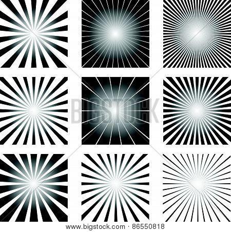Radial Elements Set. Starburst Or Sunburst Backgrounds, Rays Template